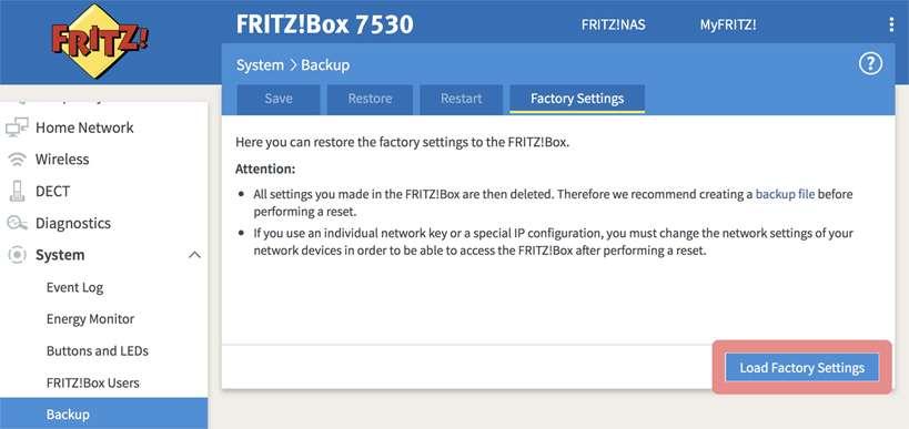 Fritz.box zurücksetzen